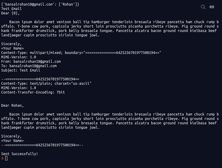 Screenshot of terminal output
